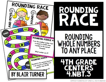 Rounding Race Board Game: 4th Grade Math Centers 4.NBT.3