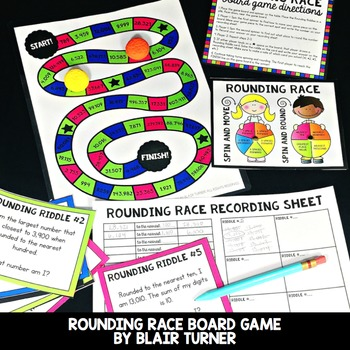 Rounding Race Board Game: 4th Grade Math Centers 4.NBT.3