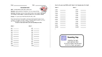Rounding Race Card Game with Whole Numbers