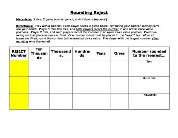 Rounding Reject Game