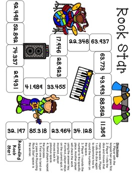 Rounding Rock Star Board Game Rounding Decimals and Whole Numbers TEKS 5.2C