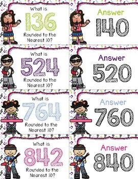 Rounding Rock Stars to the Nearest 10 ~ 3-Digit ~ Quiz-Quiz-Trade Cards