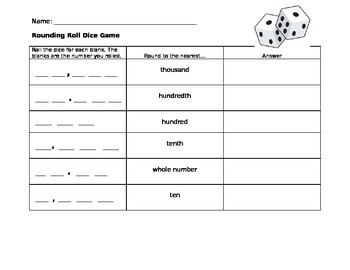 Rounding Roll Dice Game