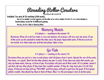 Rounding Roller Coaster Games matching, go fish, slap it, rounding relay