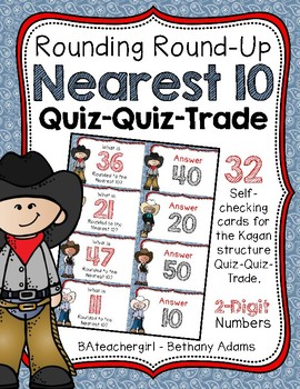 Rounding Round Up to the Nearest 10 ~ 2-Digit ~ Quiz-Quiz-Trade Cards