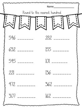 Rounding. Round to the Nearest Hundred and Nearest Ten. Math Worksheets Centers
