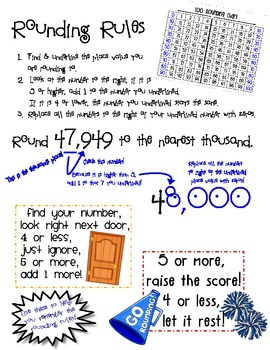 rounding rules poster by too tired to teach teachers pay