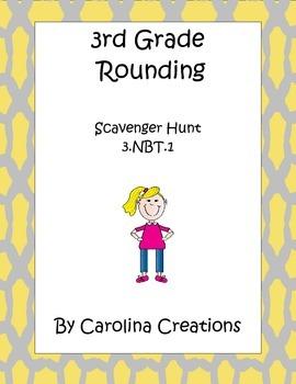 Rounding Scavenger Hunt - 3.NBT.1 - Third Grade Common Core Math