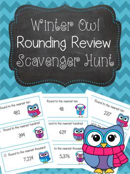 Rounding Scavenger Hunt Winter Owls