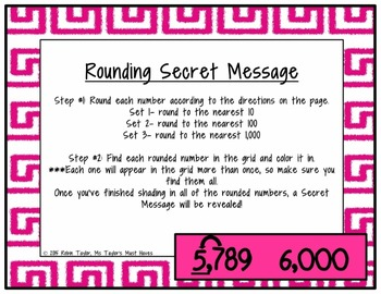 Rounding Secret Message (Rounding Whole Numbers up to the 1,000s place) 4.2D