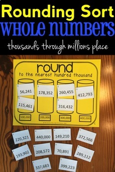 Rounding Sort: Whole Numbers, Thousands through Millions