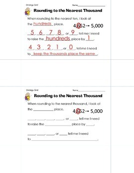 Rounding Strategy Cards for Tens, Hundreds, and Thousands Powerpoint Printables