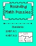 Rounding Task Card Puzzles-FREEBIE!