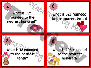 Third Grade Valentine's Day Task Cards - Rounding to the Nearest 10s and 100s