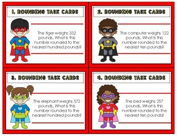 Rounding Task Cards Place Value (3rd Grade)