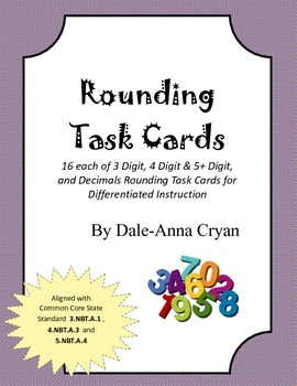 Rounding Task Cards (3.NBT.A.1, 4.NBT.A.3, 5.NBT.A.4)