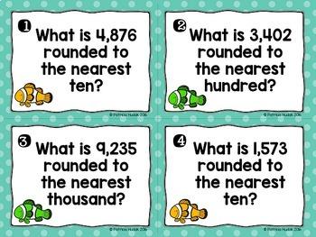 Rounding Task Cards: 4 Digit Numbers