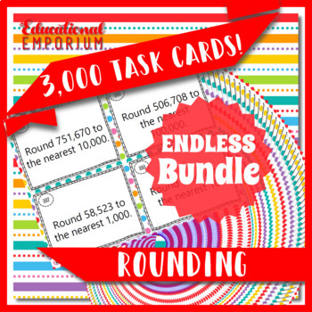 Rounding Task Cards ENDLESS Bundle: Round to Any Number or Decimal Place