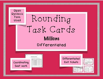 Rounding Task Cards - Millions {Differentiated}