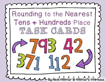 Rounding Task Cards {Mixed Tens & Hundreds}