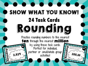 Rounding Task Cards - Nearest Ten Through the Nearest Million