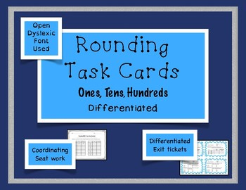 Rounding Task Cards Differentiation Bundle - Ones, Tens, H