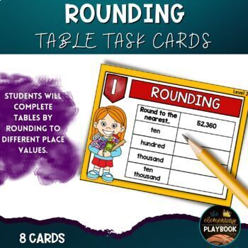 Rounding Task Cards Place Value (4th Grade) Place Value