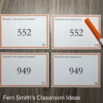 3rd Grade Go Math 1.2 Rounding Task Cards Round to the Nearest Tens or Hundreds