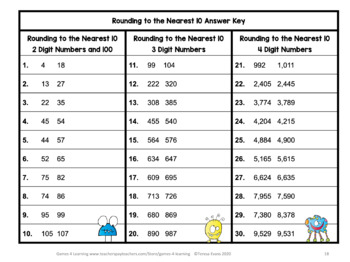 Rounding Task Cards: Rounding to the Nearest 10