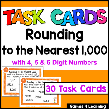 Rounding Task Cards: Rounding to the Nearest 1000