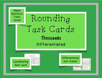 Rounding Task Cards Differentiation Bundle - Thousands - 2 sets