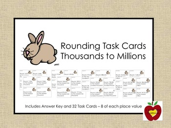 Rounding Task Cards - Thousands to Millions (Rabbit)
