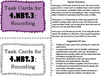 Rounding Task Cards for 4th Grade - Common Core 4.NBT.A.3