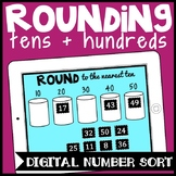 DIGITAL Rounding Tens + Hundreds Game Number Sort for Google Drive