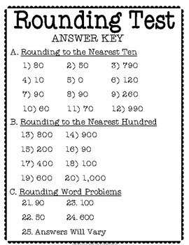 Rounding Test (or Quiz): Rounding to the Nearest Ten and Hundred
