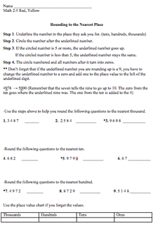 Rounding Tiered Worksheets Houghton Mifflin 2.4