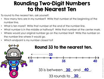 Rounding Two-Digit Numbers to the Nearest Ten on a Number Line
