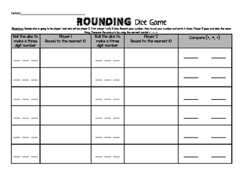 Rounding Two and Three Digit Dice Game