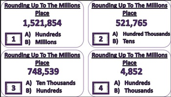 Rounding Up To The Millions Place Task Cards