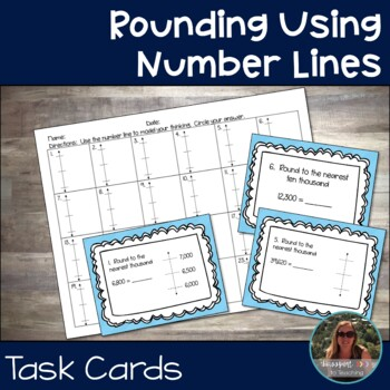 Rounding Using Number Lines Task Cards