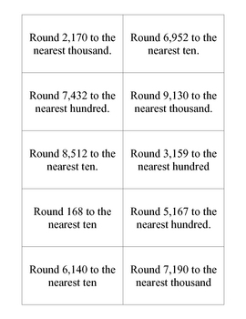 Rounding Whole Number Cards