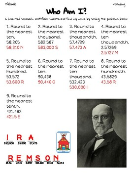 Rounding Whole Numbers & Decimals Who Am I? Inventor Worksheet Freebie