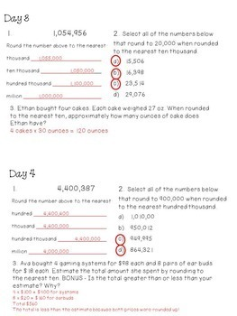 Rounding Whole Numbers - Focused Daily Review - 4th Grade