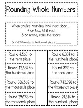 Rounding Whole Numbers Interactive Notebook Activity & Quick Check TEKS 4.2D