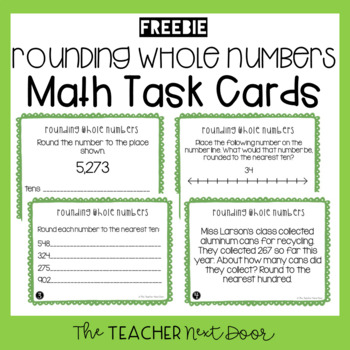 Freebie Rounding Whole Numbers Task Cards for 3rd Grade