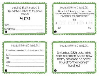 Freebie Rounding Whole Numbers Task Cards | Rounding Math Center