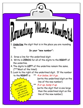 Rounding Whole Numbers Mini Poster
