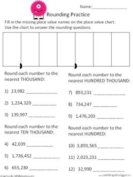 {FREEBIE} Rounding Whole Numbers Practice Sheet