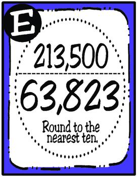 Rounding Whole Numbers Scavenger Hunt (TEKS 4.2D)