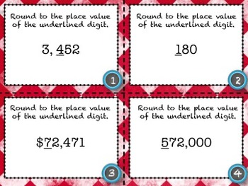 Rounding Whole Numbers Task Cards - 28 Common Core Aligned Middle Grades Cards